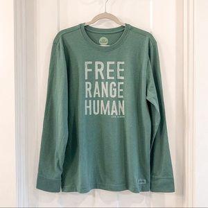 Free Range Human Long Sleeve Tee Green Medium
